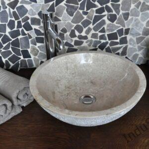 InduStone umywalka kamienna nablatowa BOWL WHITE TECTURE