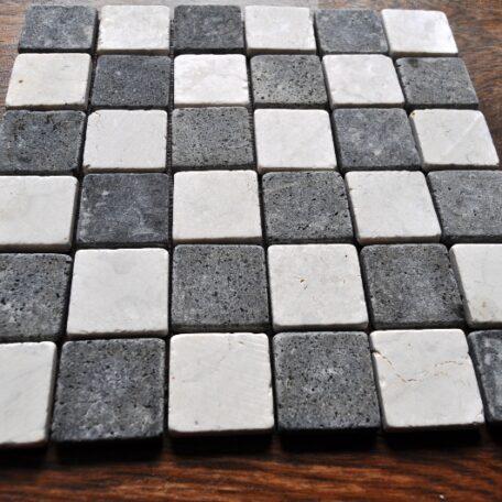INDUSTONE MOZAIKA KAMIENNA WHITEBLACK SQUARE BIAŁO CZARNA KOSTKA 30×30 (3)