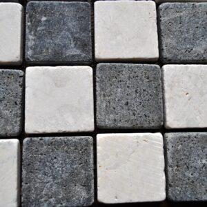 InduStone Mozaika Kamienna na siatce WHITE/BLACK SQUARE biało czarna kostka 5×5