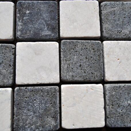 INDUSTONE MOZAIKA KAMIENNA WHITEBLACK SQUARE BIAŁO CZARNA KOSTKA 30×30 (4)