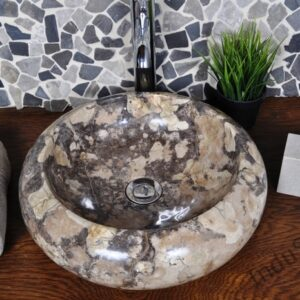 InduStone umywalka kamienna nablatowa DN-P light brown A