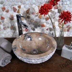 InduStone umywalka kamienna nablatowa KC-M java brown 35 cm B – ostatnia!