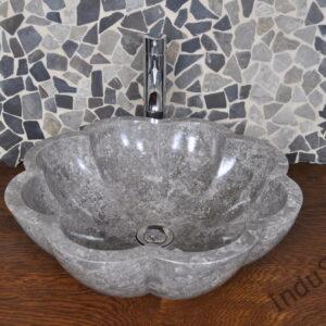 InduStone umywalka kamienna nablatowa LB-P Flower Grey