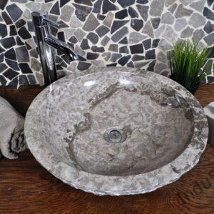 InduStone kamienna umywalka nablatowa KC-M light grey 45 cm D