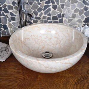 InduStone umywalka kamienna nablatowa KC-P cream A gr. ścianki 2 cm