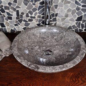 InduStone umywalka kamienna nablatowa KC-P Gris Antracyt B