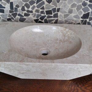 InduStone umywalka kamienna nablatowa ROV-P CREAM C