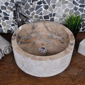 InduStone umywalka kamienna nablatowa SL-D brown C
