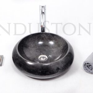 InduStone kamienna umywalka nablatowa DN-P BLACK A 40 cm